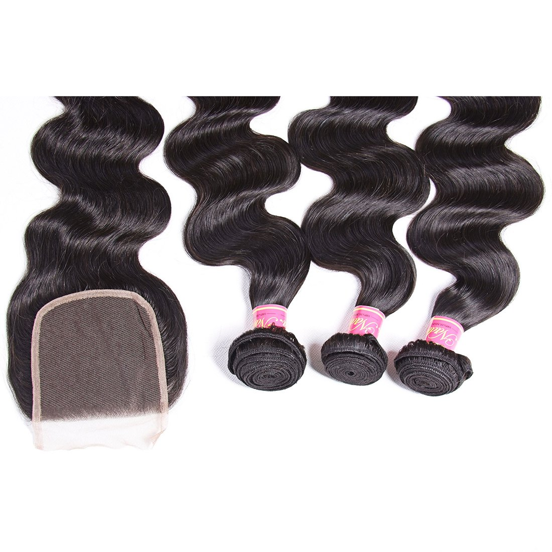 Nadula 6A Gorgeous Body Wave Brazilian Virgin Hair Free Part Lace Closure with 3 Bundles Unprocessed Remy Human Hair Weave Extensions Natural Color (18 20 22&16closure) by Nadula (Image #3)