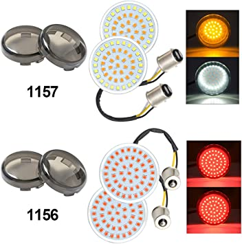 PBYMT 1157 Turn Signal Light Front Rear LED SMD Bulb Smoke Lens Cover 2 Inches Bullet Compatible for Harley Touring Road King Street Electra Glide 1986-2020