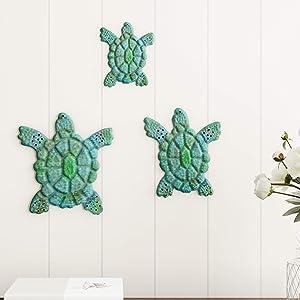 Lavish Home Turtle Wall Art-Nautical 3D Metal Hanging Decor Vintage Coastal Seaside Inspired Style-Under Water Sea Life Ocean 3PC
