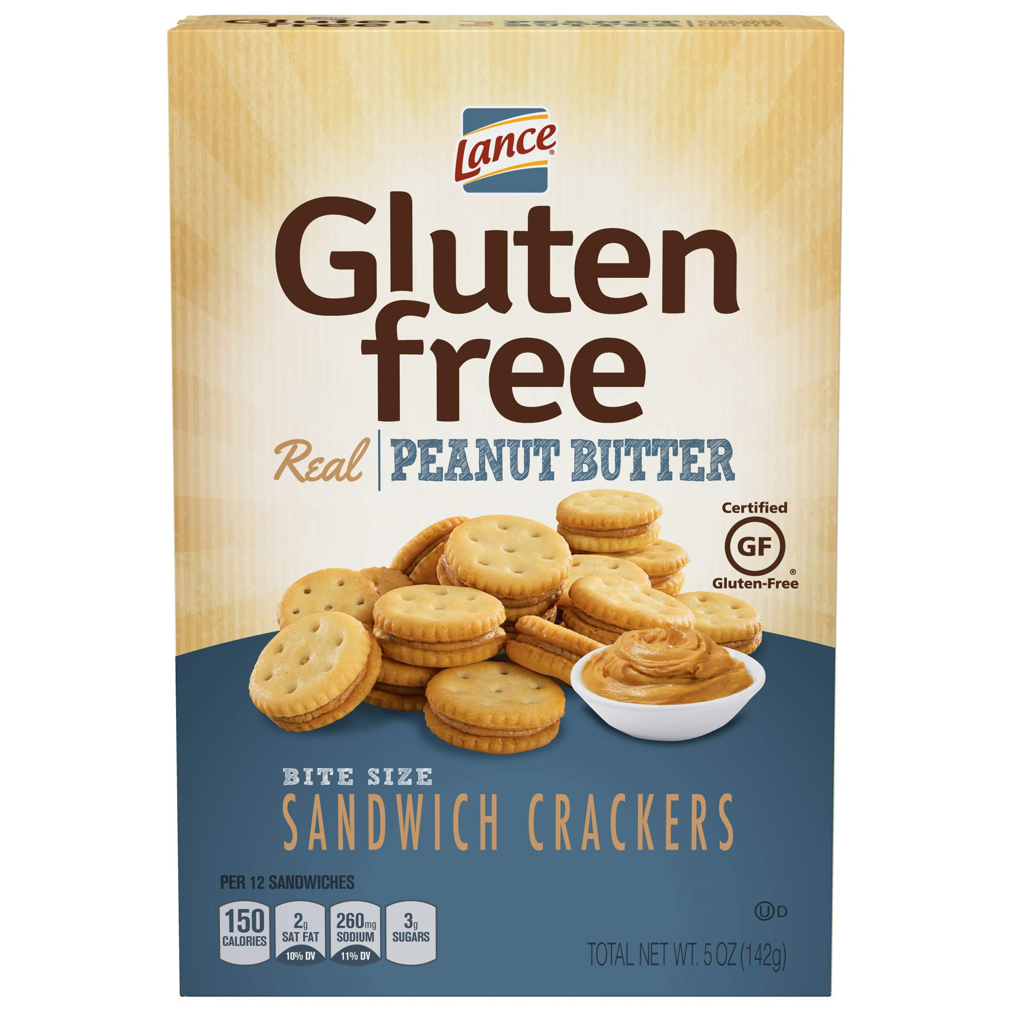 Lance Gluten Free Crackers, Peanut Butter Sandwich Crackers, 5 Ounce (Pack of 4) by Lance