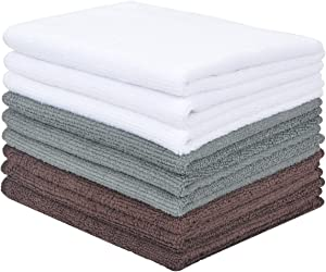 VIVOTE Microfiber Cleaning Cloth Kitchen Rags All-purpose Washcloths Non-Streak Lint Free 9 Pack 12 inch X 12 inch White+Grey+Brown