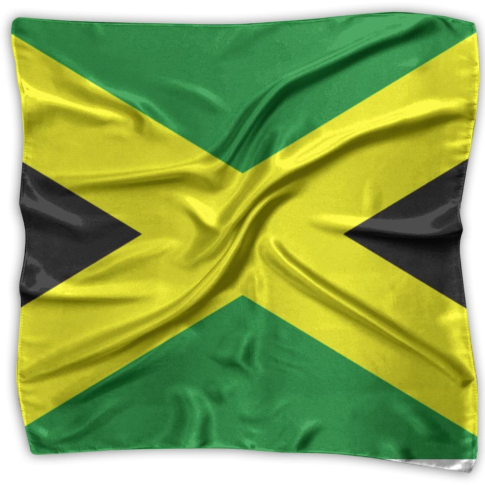 Jamaican Flag Women's Fashion Silk Neckerchief Square Scarf Headdress M Satin Neck Headscarf by Nuopeuy
