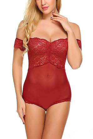 036dd93f358 Avidlove Women Sexy Lingerie Off Shoulder Teddy Lace Babydoll One Piece  Bodysuit Dark Red Small
