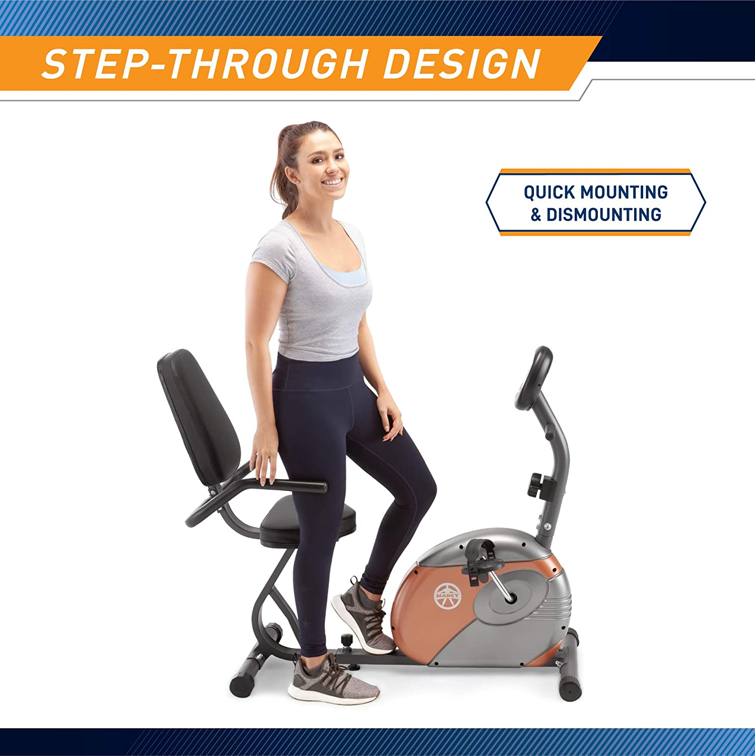 1. Marcy Recumbent Exercise Bike with Resistance ME-709