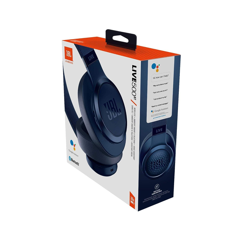 Cuffie On Ear Wireless con Microfono Leggere e Pieghevoli Assistente Google e Alexa JBL Signature Sound Blu fino a 30h di Autonomia JBL LIVE 500BT Cuffie Sovraurali Bluetooth