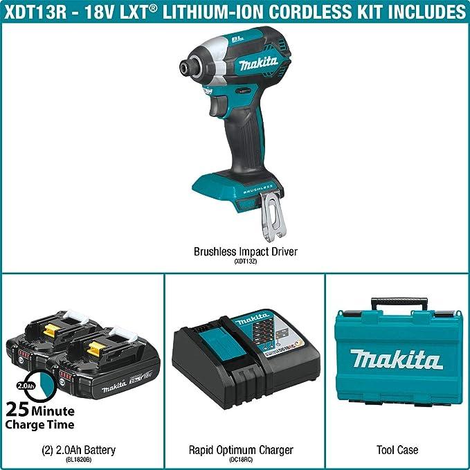 Makita XDT13R 2.0Ah 18V LXT Lithium-Ion Compact Brushless Cordless Impact Driver Kit