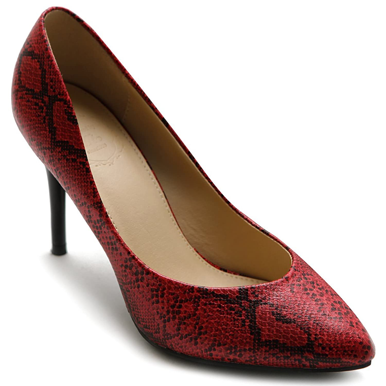 Ollio Women's Shoe D'Orsay Snakeskin Pointed Toe High Heel Multi Color Pump