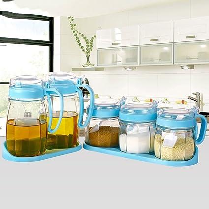 MOMO Cajas de plástico para condimentos, Cajas de condimentos de Vidrio, Botellas de vinagre