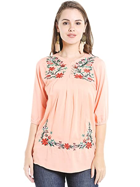 2c68d561a6d ishin Peach Rayon Embroidered Women's Top: Amazon.in: Clothing ...