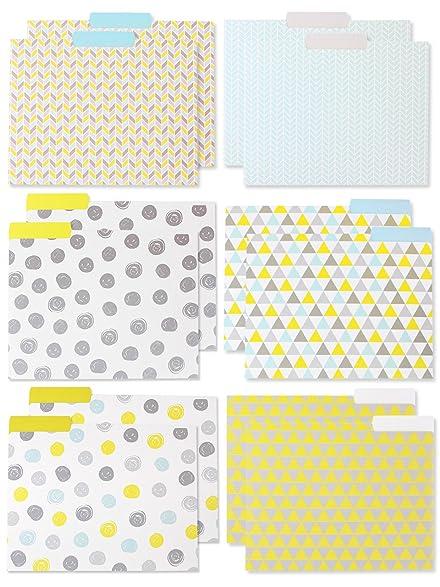 decorative assorted designer file folder set 6 different geometric yellow gray light blue designs