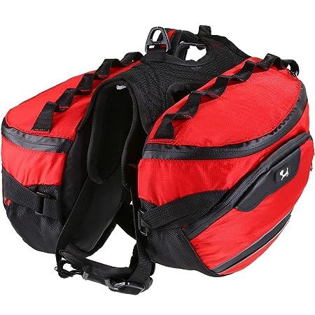 Pettom Dog Backpack Saddle Bag Adjustable Pack Reflective Rucksack Carrier for Traveling Walking Camping Hiking