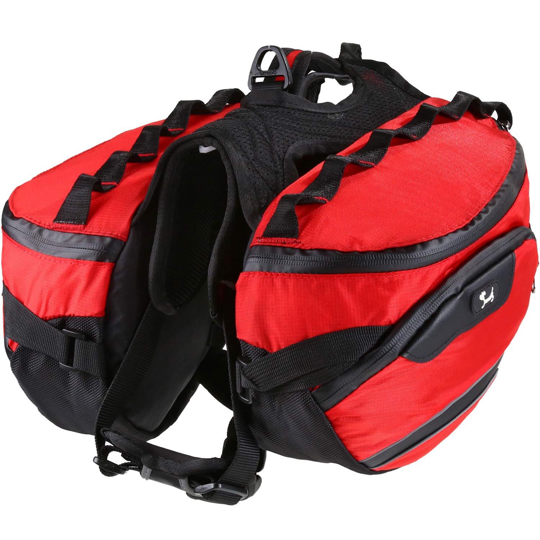 Pettom Dog Backpack Saddle Bag Adjustable Pack Reflective Rucksack Carrier for Traveling Walking Camping Hiking (L, Red)