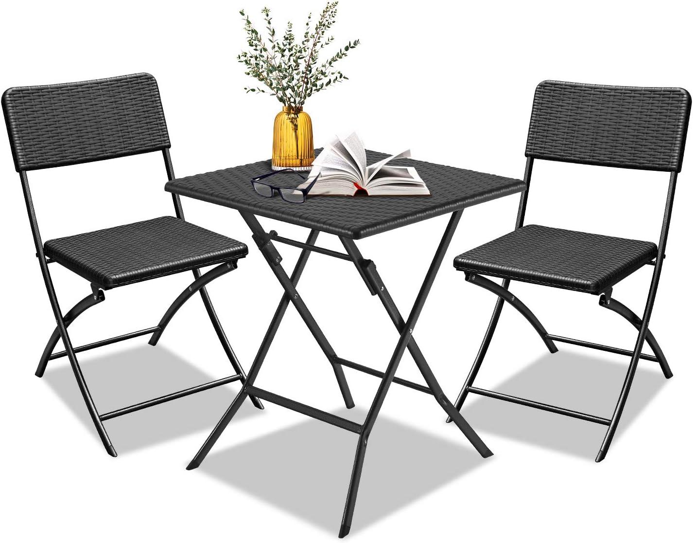 LZQ Conjunto de Muebles de Jardín, Set de 2 Sillas 1 Mesa, Estructura de Acero, resistente a la intemperie, para interior y exterior, para patio, patio, jardín - Ratán Polivinílico Negro