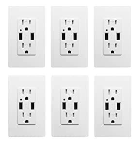 USB Outlet, High Speed Charger 4.2A Charging Capability, Child Proof Safety Duplex Receptacle 15 Amp, Tamper Resistant Wall socket plate Included UL Listed MICMI U24 (4.2A USB outlet 6pack)