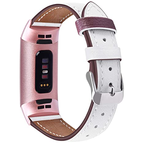 Vancle Strap Compatible for Fitbit Charge 3 Straps Leather for Women,  Adjustable Replacement Wristband Fitness Accessories with Metal Connectors