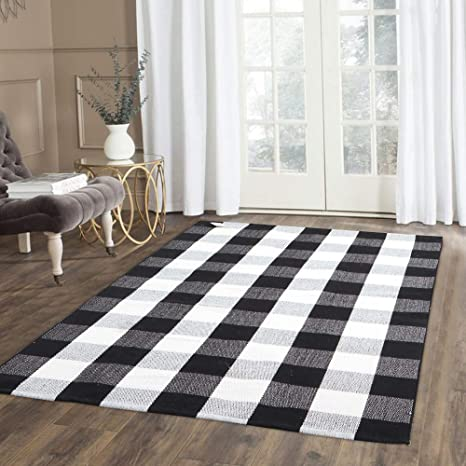 100% Cotton Plaid Rug, KIMODE Black/White Hand-Woven Buffalo Checkered  Floor Mats, Washable Collection Rugs Carpet for Porch Doormat Kitchen Rugs  (5\' ...