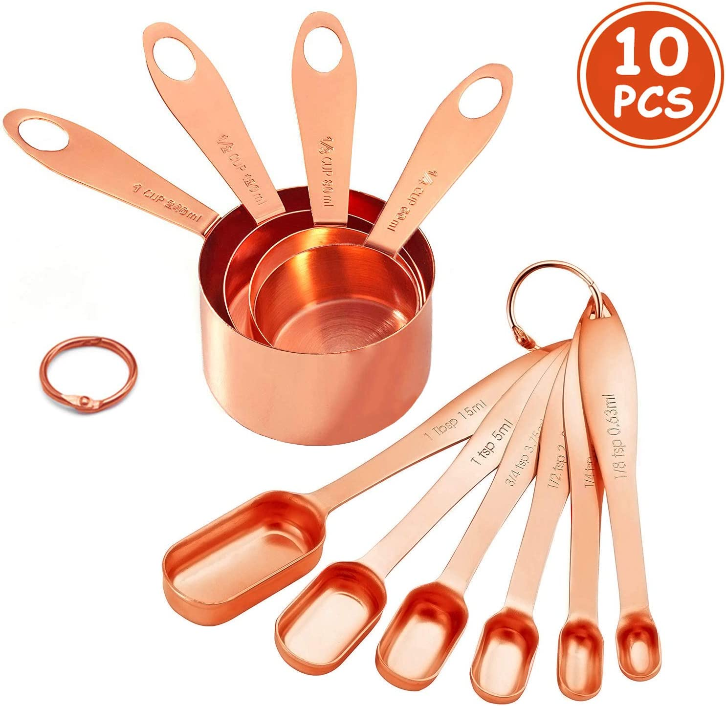 10-Piece Copper Measuring Cups and Spoons Set Stainless Steel Heavy Duty Rose Gold Engraved Stackable Nesting Kitchen Teaspoon/Tablespoon Set for Dry & Liquid Ingredients Coffee Cooking & Baking