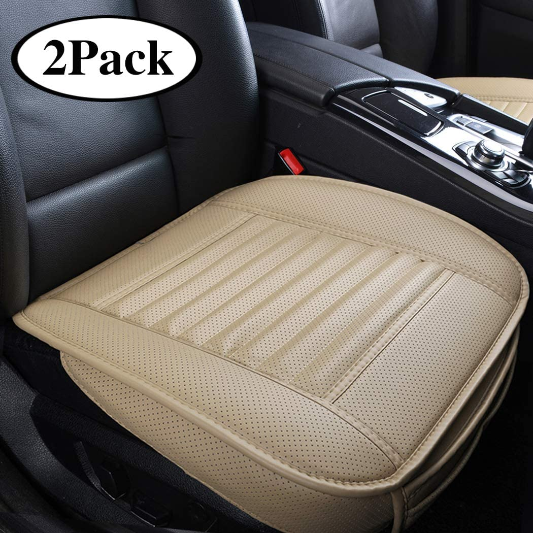 Sunny color 2pc Edge Wrapping Car Front Seat Cushion Cover Pad Mat for Auto Supplies Office Chair with PU Leather Bamboo Charcoal (Beige) …