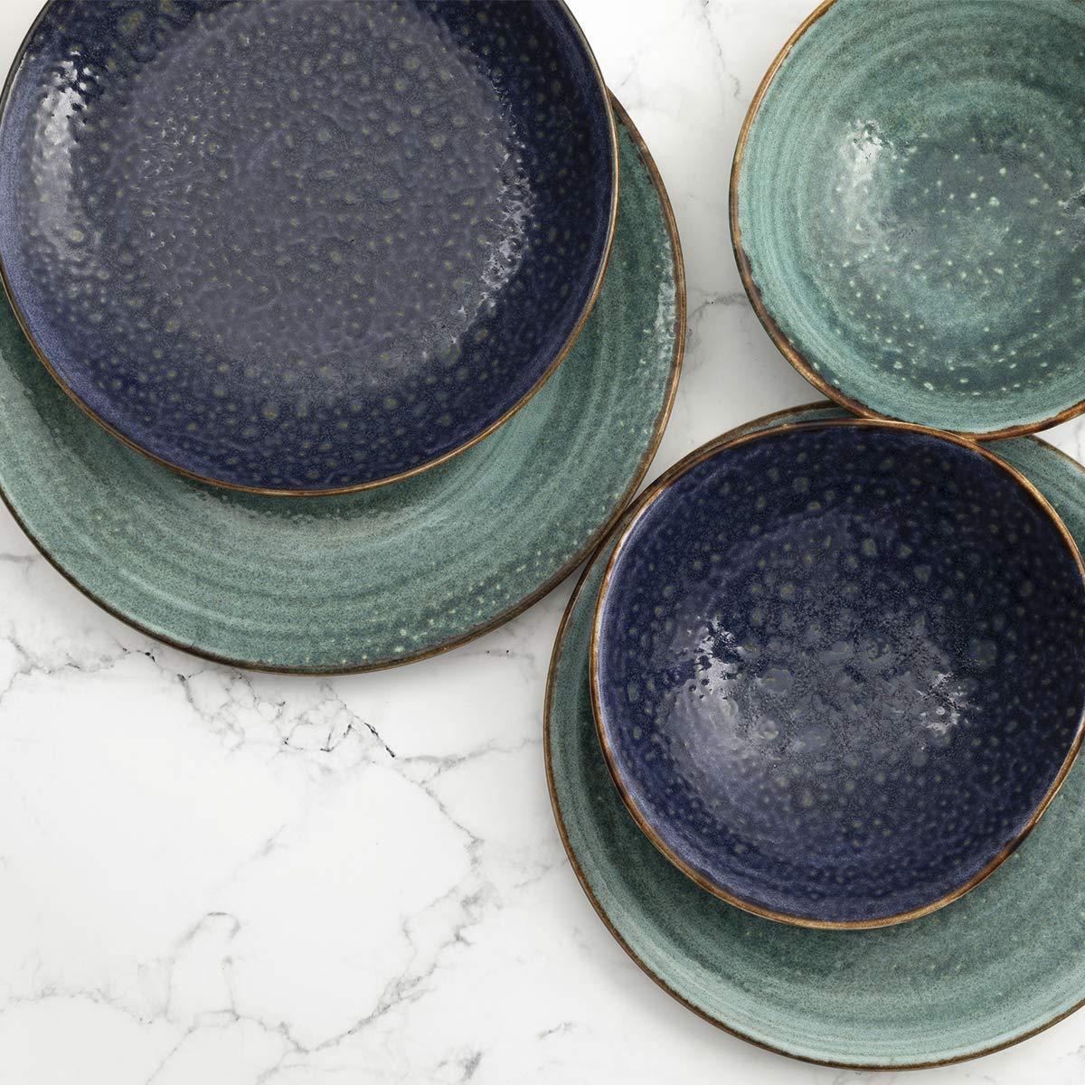 SUMMA Moon Turquoise Plato Llano 25 cm 6 Piezas Porcelana Turquesa