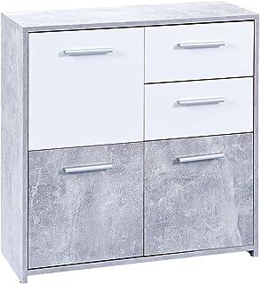 schlafzimmer kommode in weiß grau beton optik pharao24: amazon.de ... - Kommode Weiß Schlafzimmer