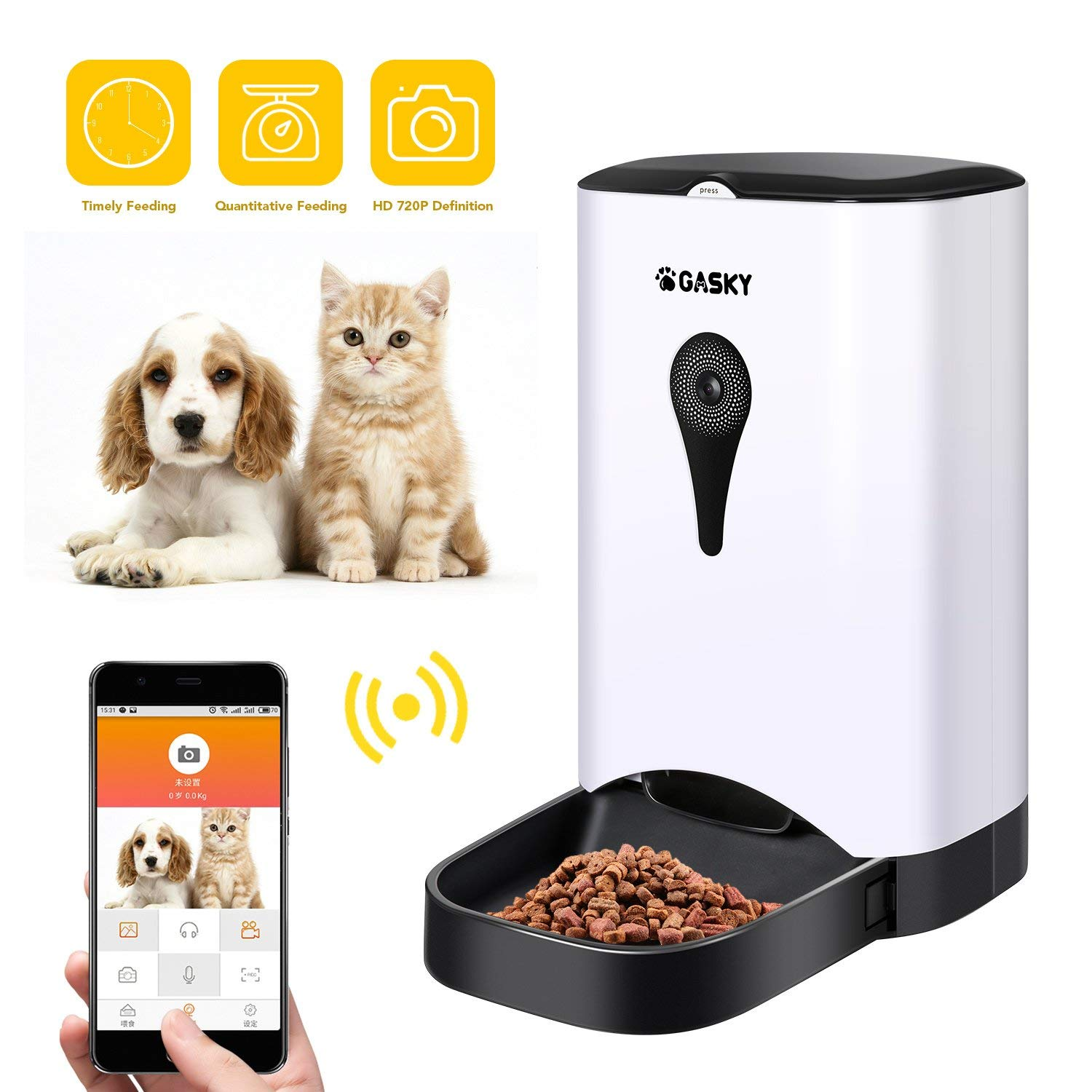 [Limited Promotion]Automatic Cat Dog Pet Smart Feeder - App Control Pet Food Dispenser with WiFi Camera Video 4.5L Large Capacity Distribution Alarms Portion Control Voice Recording Timer Programmable by Gasky