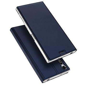 Funda Sony Xperia XZ, DUX DUCIS Cuero Fundas [Soporte Plegable] [Cierre Magnético] [Azul Marino] Protección De Cuerpo Completo Carcasa Para Sony ...