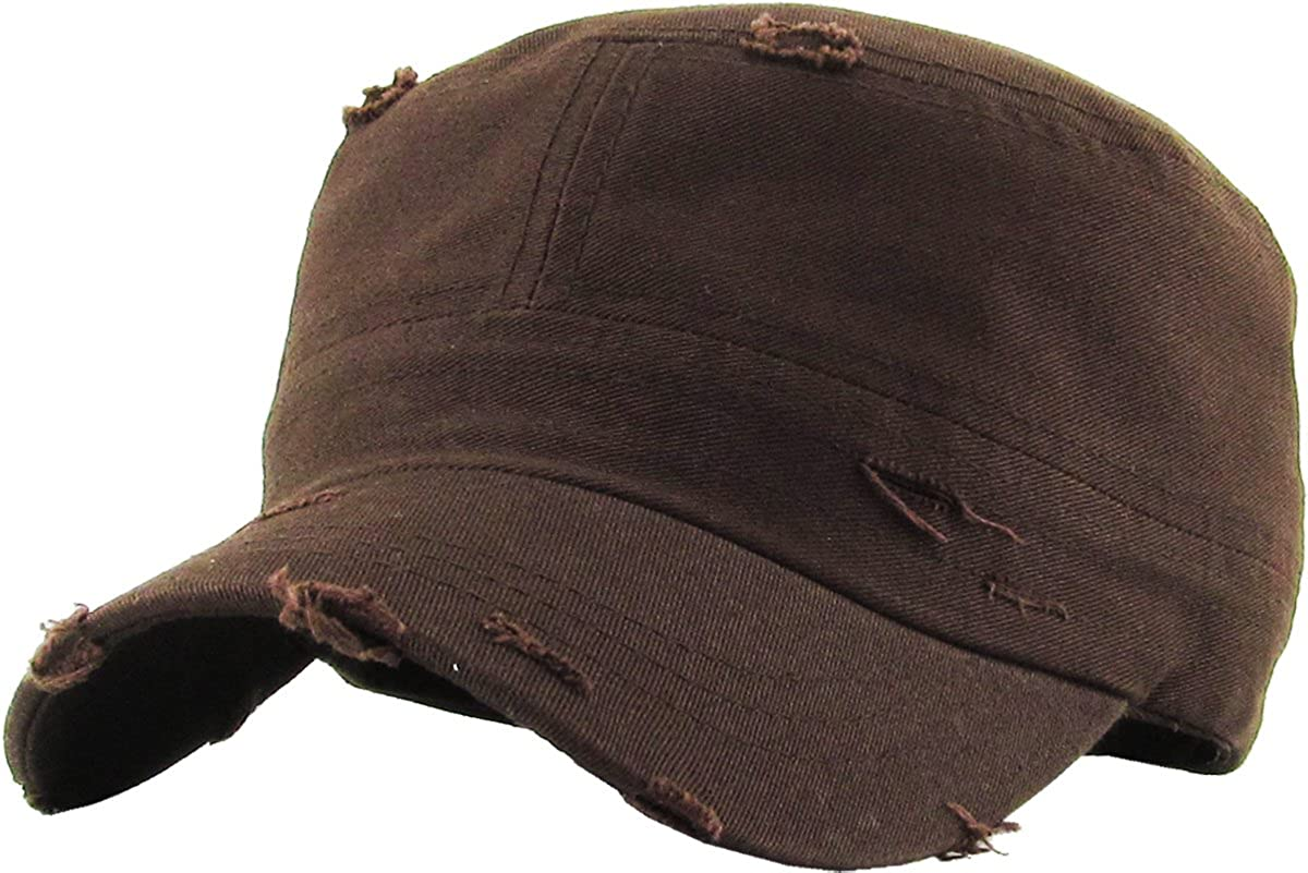 KBETHOS Vintage Distressed Cadet Army Cap Basic Everyday Military Style Hat