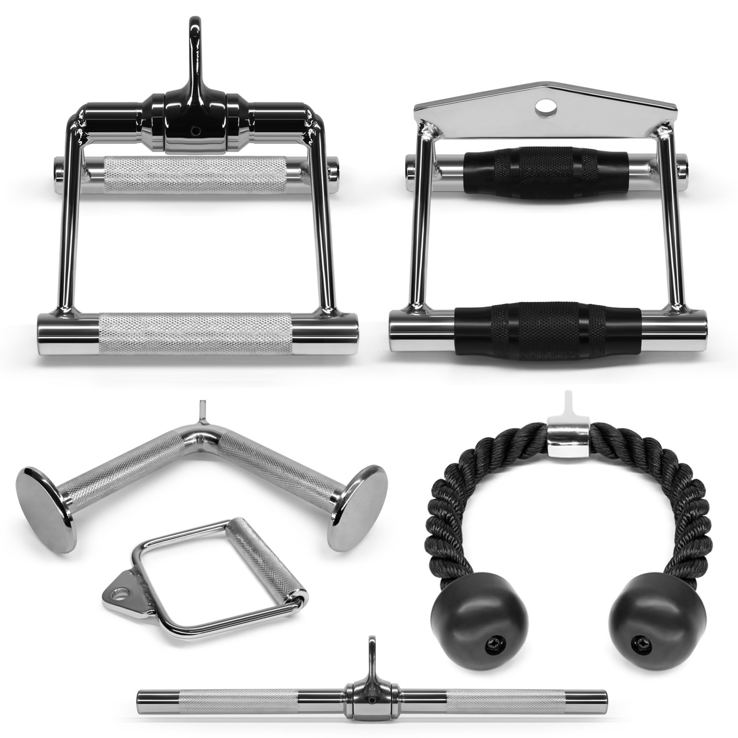 Yes4All LAT Machine Accessory Pull Down (Option): Tricep Rope, Single D-Handle, V-Shaped Bar & Rotating Straight Bar