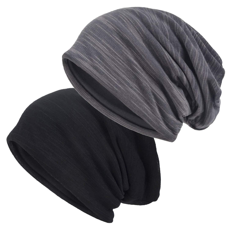 EINSKEY Men Slouch Beanie 2-Packs Thin Summer Skull Cap Hollow Oversized Baggy Multipurpose Cancer Hat Chemo Cap Skull Caps