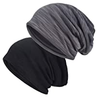 EINSKEY Slouch Beanie Hat, 2 Pack Unisex Winter Warm Lined Jersey Skull Cap Thin Baggy Headwear (Black & Grey)