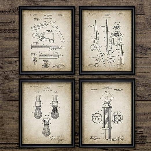 LLXHG Planos De Patentes De Barbero Carteles Antiguos Impresiones ...