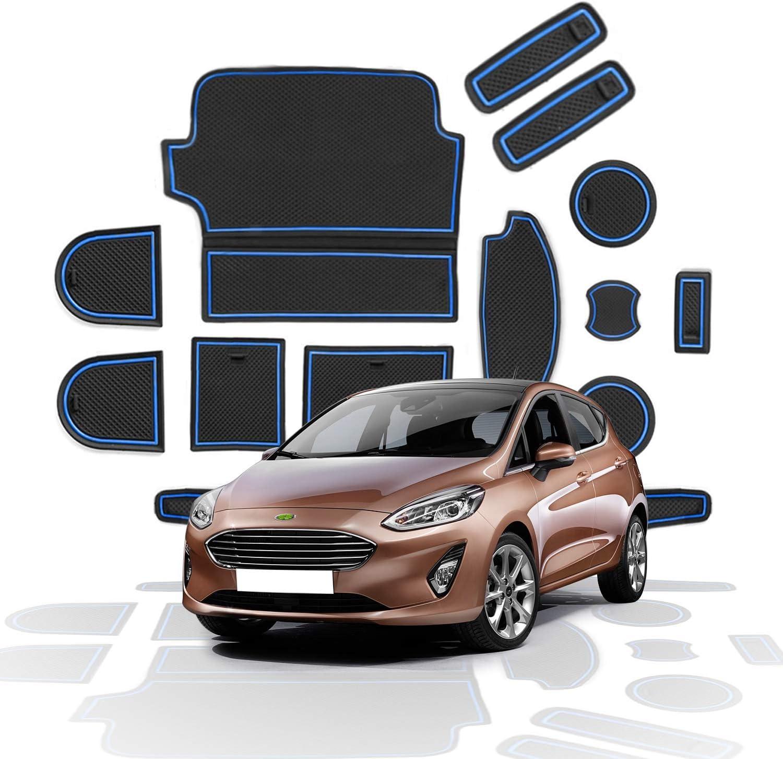 Blau RUIYA Fiesta MK8 2017-2019 Antirutschmatten Auto Innere T/ürschlitz Arm Box Aufbewahrung Matten Pads Gummi Antirutschmatten T/ür Becherhalter Slot Matten