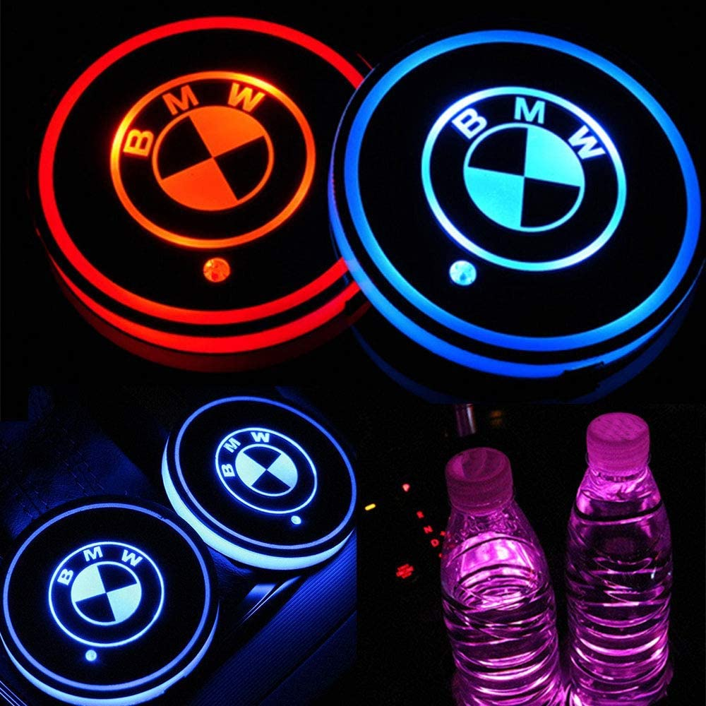 Auto Sport 2PCS LED Cup Holder Mat Pad Coaster with USB Rechargeable Interior Decoration Light Fit Mustang Accessories