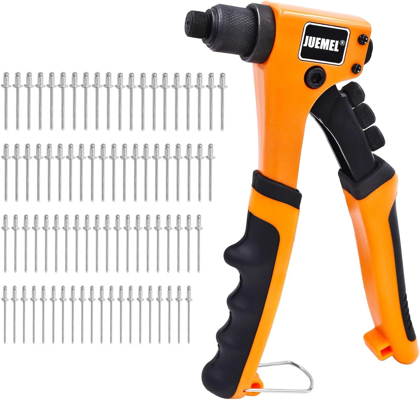 Rivet Gun Kit with 80 Pcs Rivets, JUEMEL Hand Riveter Set, 4 Sizes of Rivet heads Attached, Heavy Duty Durable Single Hand Rivet Gun Tool for Metal, Plastic and Leather