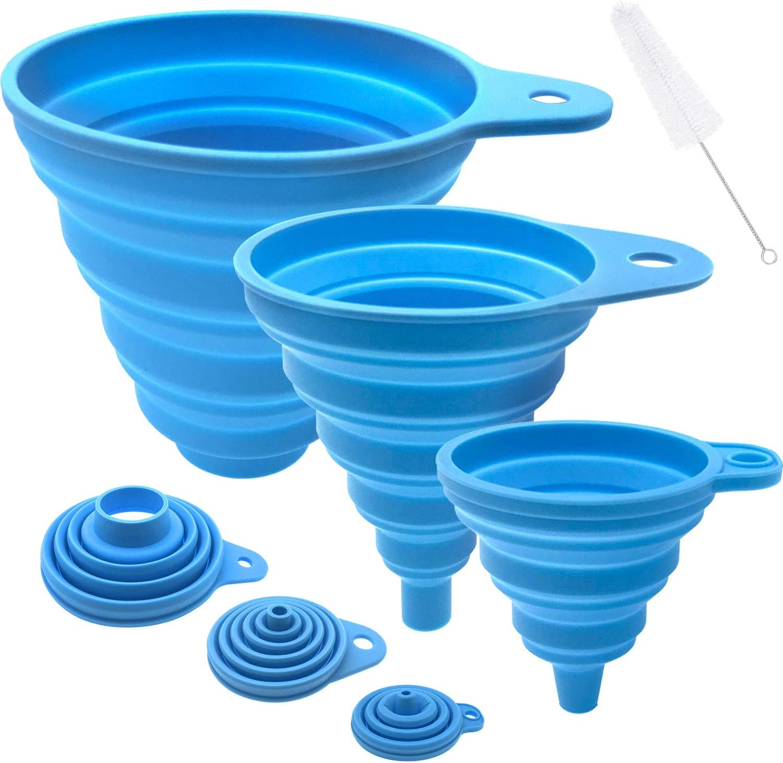 Funnels for Filling Bottles, Kitchen Funnel Set of 3, Food Silicone Funnel for Filling Liquid, Powder, Solid Beans Transfer