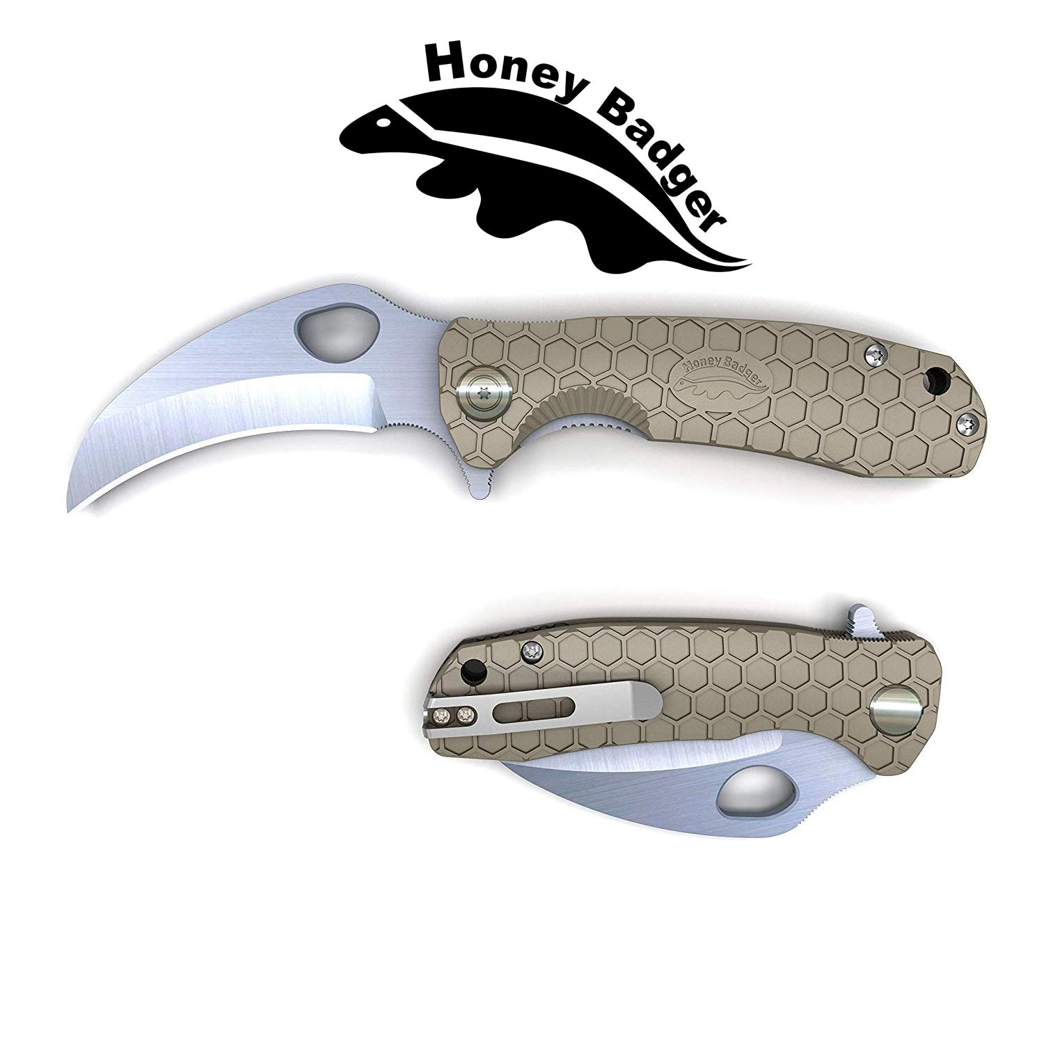 Western Active Honey Badger Pocket Knife Flipper Claw Model Smooth Blade (Claw Smooth Medium Tan) by Western Active