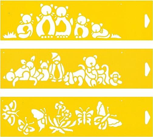 30cm x 8cm (Juego de 3) Stencil Plantilla Plástico Reutilizable para Decoración Pasteles Paredes Tela Muebles Manualidades Arte Artesanía Diseno Gráfico Dibujo Técnico - Gatos Mariposa Juguetes Animales: Amazon.es: Hogar