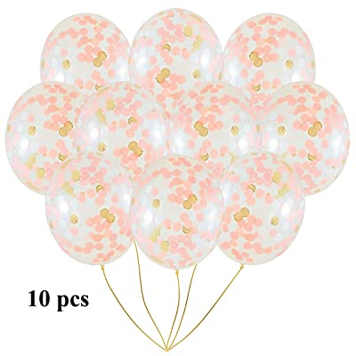 Gnognauq Décorations anniversaire 10 pièces confetti ballon Rose d'or, 18 Pouces Ballons en Latex, Ballons De Fête, Balloons Anniversaire, ballon Cérémonie, Plafonds Ballons Confetti, b