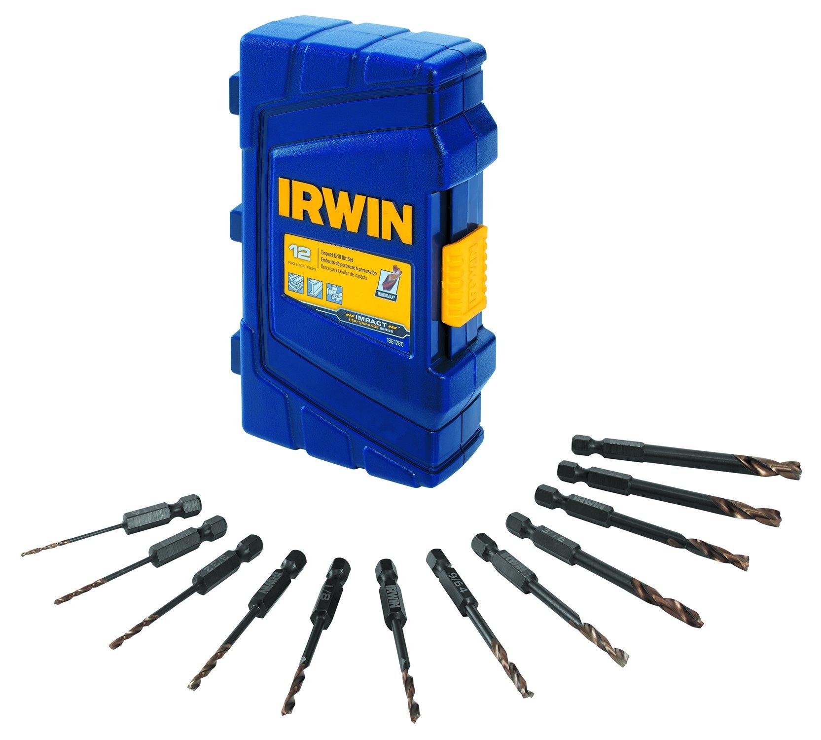 IRWIN Tools 1881280 Impact Performance Series Turbomax Drill Bit Set, Black and Gold, 12-Piece