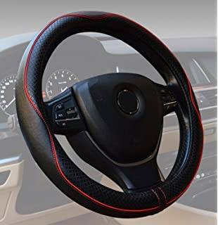 Steering Wheel Covers Universal 15 inch Genuine Leather Protector Anti-Slip Durable Breathable Sports Wave