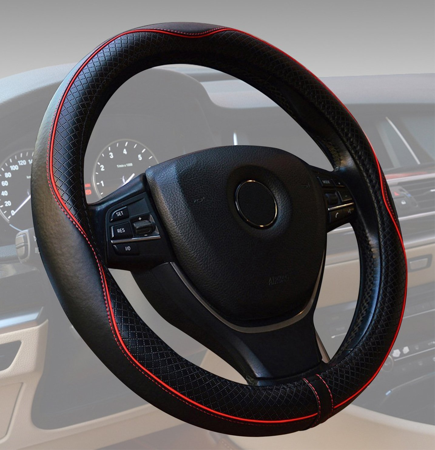 Car Steering Wheel Cover Universal 15 inch Comfort Grip Black with Red Line