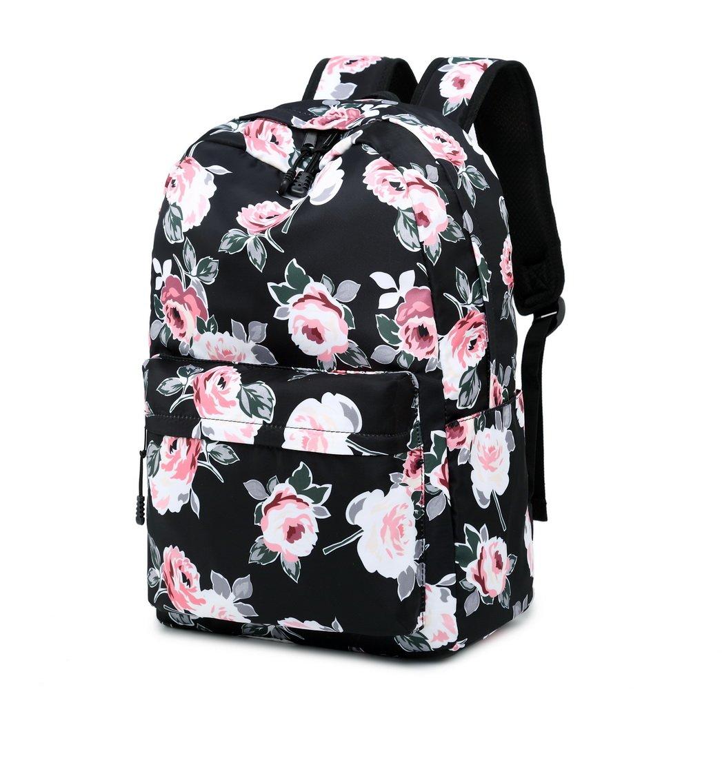 c8acfc577eb8 Acmebon Waterproof Women Backpack Purse Floral Print Cute School Backpack  for Girl Peony Black