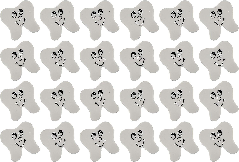 Curious Minds Busy Bags Bulk - 24 Tooth Pencil Erasers (2 Dozen) - Novelty Prize Favor Dental Treasure Reward Teeth Dentist Office