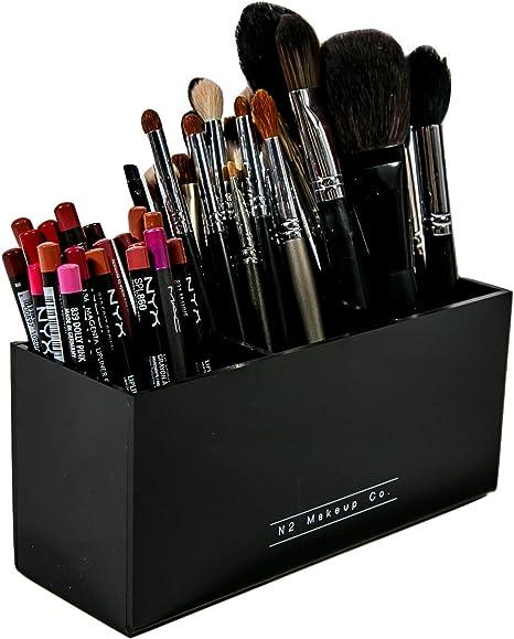 el Almacenamiento de Brochas de Maquillaje con 3 Ranuras, Hecho de Acrílico | de N2 Makeup Co: Amazon.es: Hogar