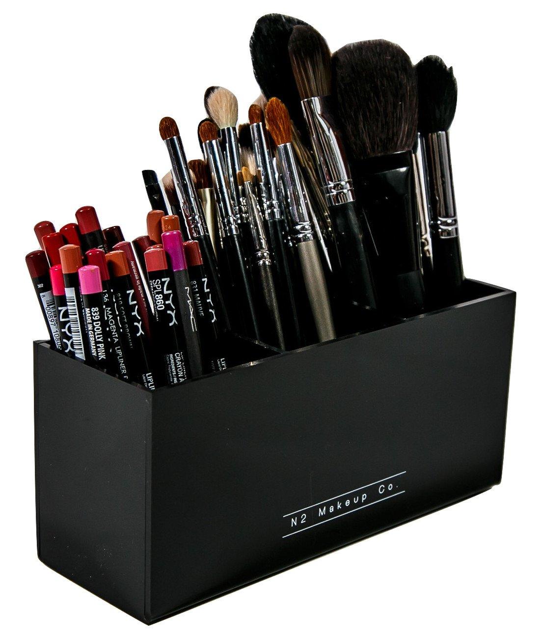 Amazon.com: Makeup Brush Holder Organizer   3 Slot Acrylic Cosmetics  Brushes Storage Solution By N2 Makeup Co: Home U0026 Kitchen