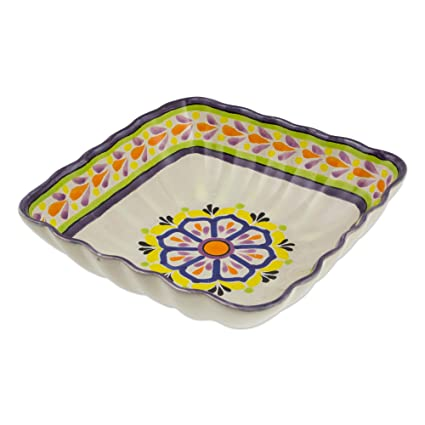 Amazon.com: NOVICA Multicolor Ceramic Floral Serving Bowl ...