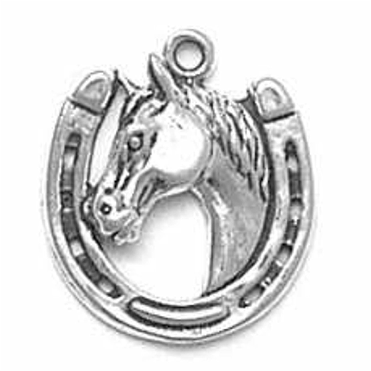 Sterling Silver Girls .8mm Box Chain Stallion Horse Head Horseshoe Pendant Necklace