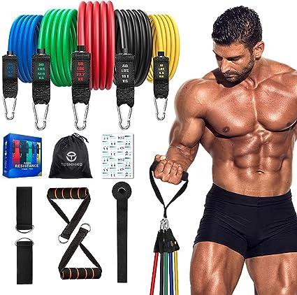 11 Pieces Resistance Band Set Pour Musculation Fitness Maison Gym Yoga Exercice
