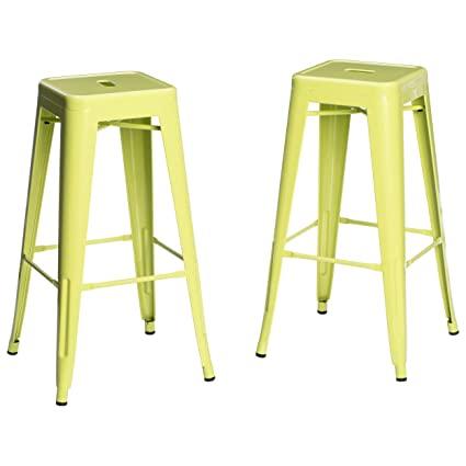 Set Of 2 Lime Green French Bistro Tolix Style Metal Bar Stools In Glossy  Powder Coated