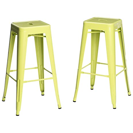 Set of 2 Lime Green French Bistro Tolix Style Metal Bar Stools in Glossy Powder Coated  sc 1 st  Amazon.com & Amazon.com: Set of 2 Lime Green French Bistro Tolix Style Metal ... islam-shia.org